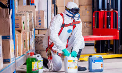 Worker Handling Chemical Products